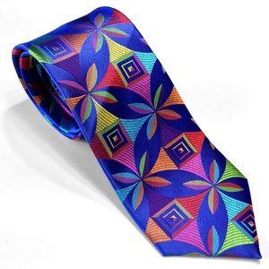 Blue Lawrence Ivey Geometric Multi-color Silk Tie